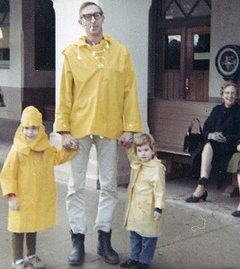 Dennis with daughters Katie & Deirdre at the Santa Barbara train station, 1968. His mother is in the background.