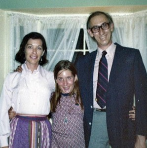 Sheila and Dennis with Katie at home in Santa Barbara, 1973.